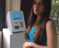 Cindy at a Bitcoin ATM